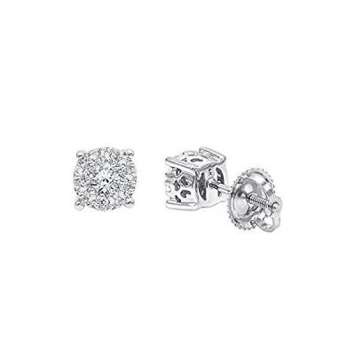 並行輸入品 Ladies 14K Gold Cluster Diamond Stud Earrings 0.35ctw (White Gold)