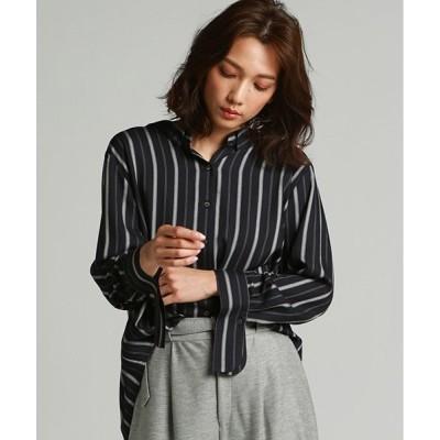 シャツ ブラウス 抜き衿ビッグシルエットシャツ