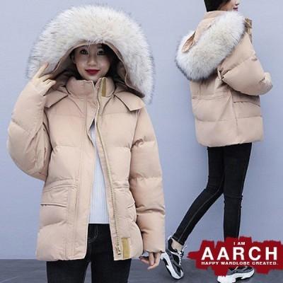 大きいサイズ ダウンコート アウター レディース ファッション ぽっちゃり おおきいサイズ あり ファー付きフード パデッド 中綿 防寒 L LL 3L 4L 5L 秋冬
