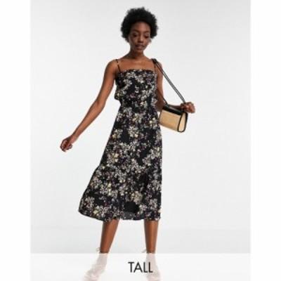 ヴェロモーダ Vero Moda Tall レディース ワンピース キャミワンピ ワンピース・ドレス cami midi dress in black ditsy floral ブラック