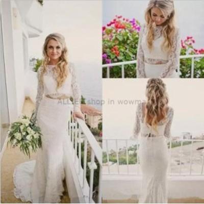 ウェディングドレス/ステージ衣装 ホワイト/アイボリー2ピースマーメイドウェディングドレスロングスリーブ2018ビーチブライダルドレス