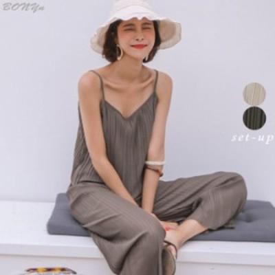 かわいい プリーツ キャミソール パンツ セットアップ ファッション 夏服 ノースリーブ ボトム ビーチ プール タンクトップ(fl000459)