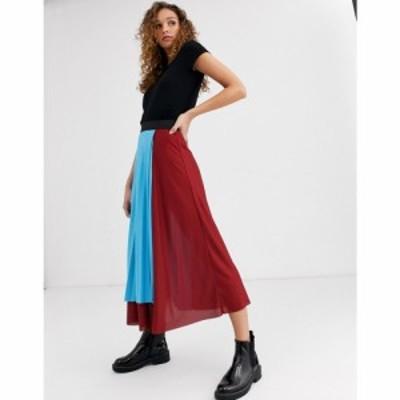 エイソス ASOS DESIGN レディース ひざ丈スカート ラップスカート スカート colour block pleated wrap midi skirt マルチカラー