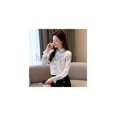 ワイシャツレディースブラウスYシャツトップス折り襟開襟シャツ無地長袖ボタン韓国カジュアル通勤OLオフィス