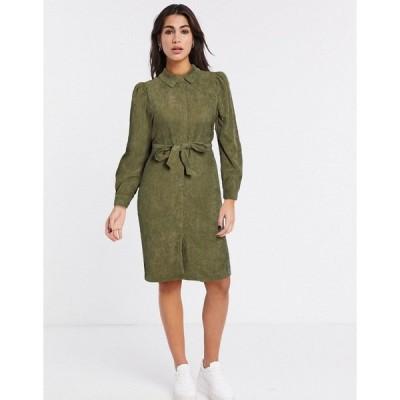 ヴェロモーダ レディース ワンピース トップス Vero Moda cord shirt dress in green Ivy