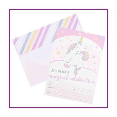 Unicorn Invitations for Girls Birthday Party - 20 Cards with Envelopes【並行輸入品】