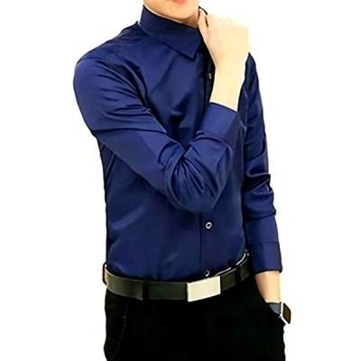 メンズ シャツ 長袖 カジュアル ワイシャツ 大きいサイズ 無地 ビジネス スリム(ネイビー, xxl)