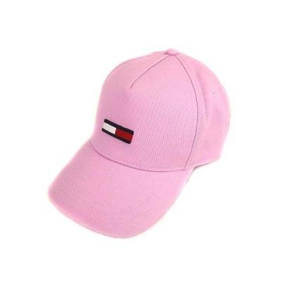 【中古】トミージーンズ TOMMY JEANS キャップ 帽子 ロゴ ワンポイント 刺繍 ピンク OS FREE レディース 【ベクトル 古着】