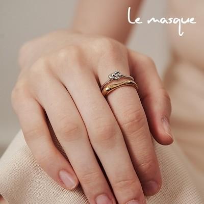 ルマスクLe masqueノードレイヤードオープンリング 3色 / 韓国ファッション 韓国アクセサリー ジュエリー 指輪 デート カジュアル オシャレ