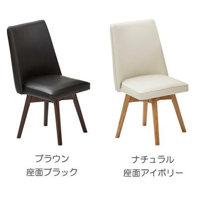 チェア 椅子 回転式 ダイニングチェア 引手付き 1脚 単品 木製 ラバーウッド 座面 PVC 合皮 おしゃれ イス 関家具 ケトル
