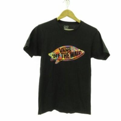 【中古】バンズ VANS カットソー Tシャツ 半袖 プリント 黒 S *E568 メンズ