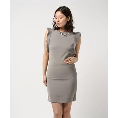 ドレス 大胆バックデザインビジューネックレス付き肩フリルノーリーブ美シルエットドレス