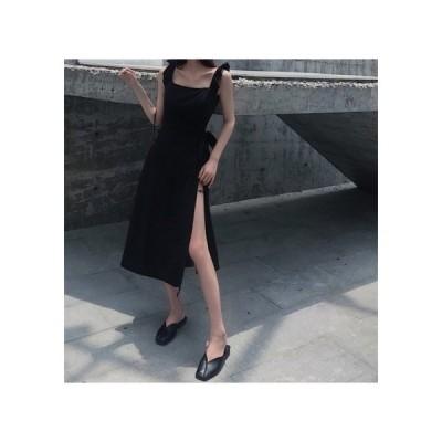 ブラック スリット シンプル パーティードレス レディース ワンピース お呼ばれドレス kh-0995