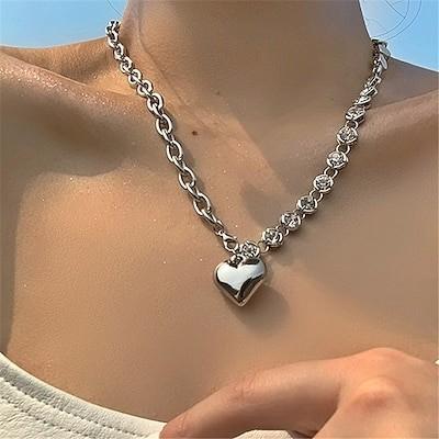 韓国 ファッション 金属 ハート ペンダント ネックレス 個性的 鎖骨チェーン  czダイモンド chocker wxl145