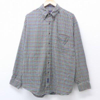 古着 長袖 フランネル シャツ 90年代 90s コットン ボタンダウン 緑他 グリーン チェック XLサイズ 中古 メンズ トップス シャツ トップ