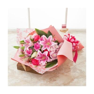 花束 プレゼント 「ボヌール 華やかな贈り物」 花 生花 ギフト フラワーギフト ユリ バラ カーネーション  シンビジューム