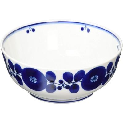 白山陶器 ボール(L) 青 ブルーム (約)φ18.5×7.5cm 波佐見焼 日本製