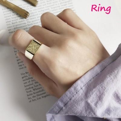 指輪 オープンリング レディース 女性 アクセサリー シルバー925 ゴールドカラー スクエア おしゃれ フリーサイズ 調節可能 ギフト プレゼント