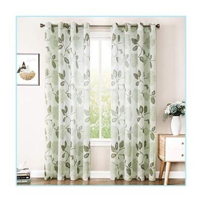 新品MRTREES Linen Textured Sheer Curtains 84 inches Long Living Room Olive Flower & Leaves Printed Window Curtain Sheers Bedroom Drapes Pr