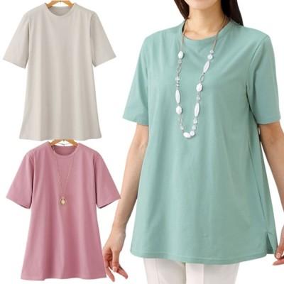 ベルーナ 【3色組】強撚綿100%サラッとTシャツ 1 LL レディース