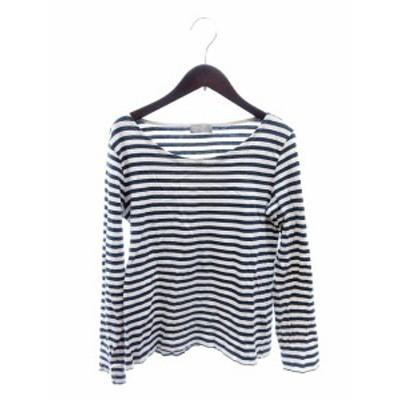 【中古】マーガレットハウエル MARGARET HOWELL Tシャツ カットソー Uネック 長袖 ボーダー 紺 ネイビー レディース