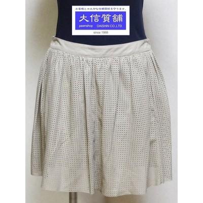 DROME ドローム ミニスカート プリーツ パンチング レザー サイズS ベージュ 中古A A-6039 【送料無料】