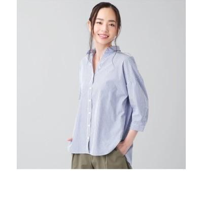 レディース ウィメンズシャツ カジュアル 七分袖 スキッパー衿 綿100% 白×ネイビーストライプ