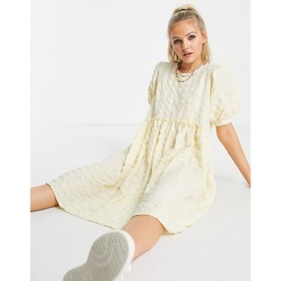 ピーシーズ Pieces レディース ワンピース ミドル丈 ワンピース・ドレス puff sleeve midi smock dress in yellow イエロー