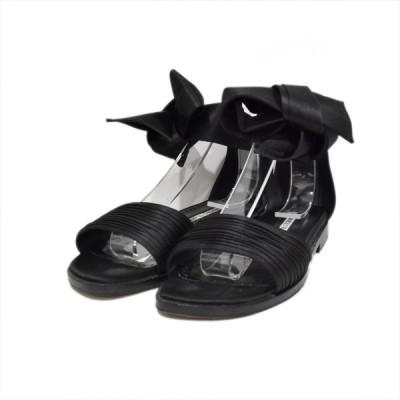 MANOLO BLAHNIK 20SS サテンリボンフラットサンダル SIMONA ブラック サイズ:37 1/2 (24.5cm) (四ツ橋店) 2