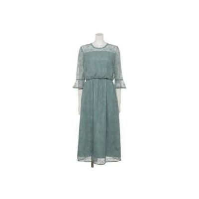 【Rewde】レースフレア袖ドレス(0R04-D140) (グリーン)