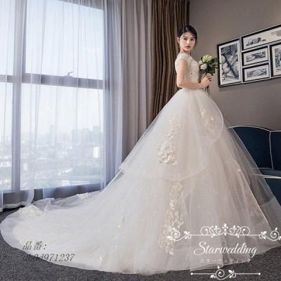 後ろ撮り プリンセスラインドレス 結婚式 二次会 大きいサイズ トレーン ドレス ウェディグドレス 花嫁 挙式 シャンペン 前撮り 安い カラードレス