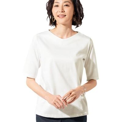 ベルーナ <日本製>美の艶感コットン100%Tシャツ(浅Vネック) オレンジ M レディース