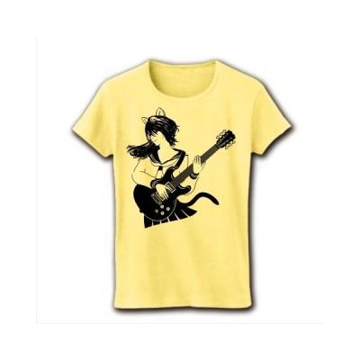 エレキギター&キャットガール リブクルーネックTシャツ(ライトイエロー)