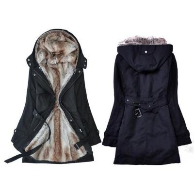 レディース中綿コート防寒服裏起毛秋冬用フード付きアウターあったかロングブルゾンダウンジャケットコーデやすい卸売り販売