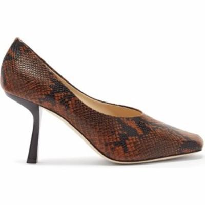 ジミー チュウ Jimmy Choo レディース パンプス スクエアトゥ シューズ・靴 Marcela 85 square-toe python-effect leather pumps Tan