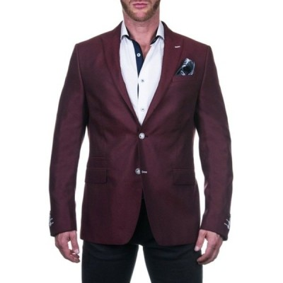 マセオ メンズ ジャケット&ブルゾン アウター Beethoven Vines Red Solid Two Button Peak Lapel Blazer RED