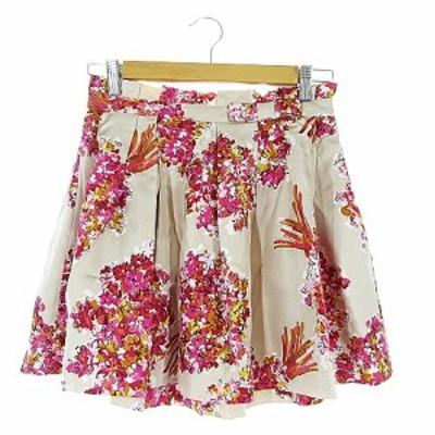 【中古】ジルスチュアート JILL STUART スカート ギャザー ミニ 花柄 リボン シルク 0 ベージュ /AAM25 レディース