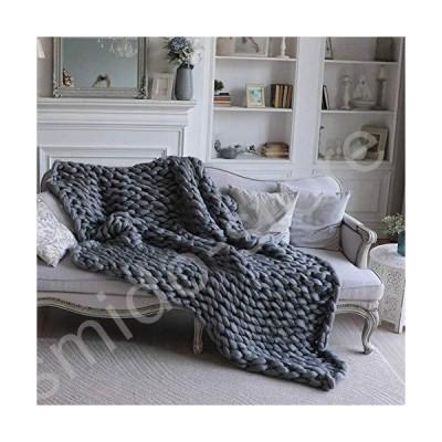 新品未使用!!送料無料!!Chunky Knit Blanket - Handwoven Blanket - Cozy Throw Blankets for Bedroom Sofa Decor - Super Large - Sky Blue