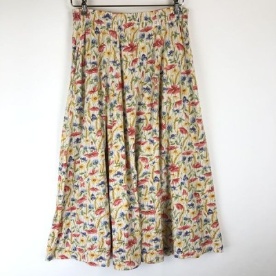 古着 花柄スカート made in GREAT BRITAIN プリント 花柄 カットソー素材 ヴィンテージ ホワイト系 レディースS n015688