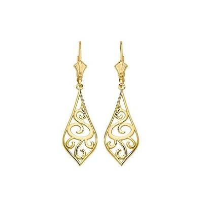 "Solid 10k Yellow Gold Filigree Rattan & Leaf Design Dangle Earrings (1.42"")【並行輸入品】"