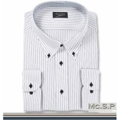 大きいサイズ B.D長袖シャツ ホワイト×ブラック 3L 4L 5L 6L 7L 8L 9L/1157-3331-1-69