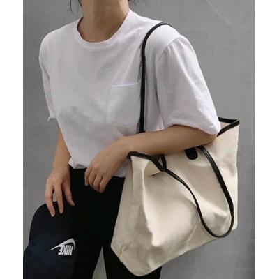MKT / 【ACT -fascination design-】フェイクレザーパイピング キャンバストート WOMEN バッグ > トートバッグ
