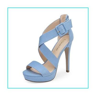 DREAM PAIRS Women's Baby Blue Suede Cross Strap Open Toe High Stilettos Party Pump Platform Heel Sandals Size 11 US Charlotte【並行輸入品】