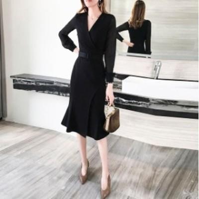 ドレス キャバドレス ワンピース パーティードレス 大きいサイズ タイト 長袖 ミモレ丈 フィッシュテール フォーマル レディース