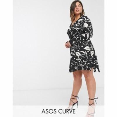 エイソス ASOS Curve レディース ワンピース ラップドレス ワンピース・ドレス ASOS DESIGN Curve wrap front mini dress in abstract fl