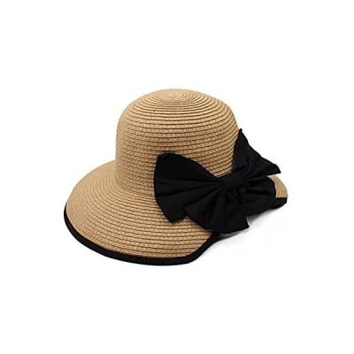 Aness (アネス) バックリボン つば広 ハット 大きめツバ パイピング ストローハット 女優帽 小顔 麦わら帽子 UV レディース 春夏 フリー