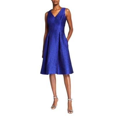テリージョン レディース ワンピース トップス V-Neck Sleeveless Jacquard Dress w/ Self-Belt