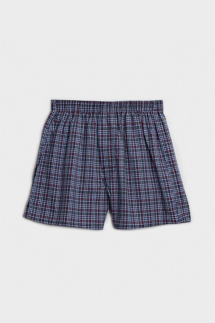 (男款)格紋控.平織舒適四角內褲(深藍/白/紅格)