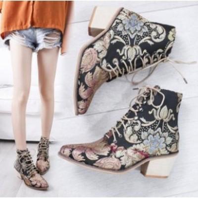 ショートブーツ レディース  マーティンブーツ ブーツ 6cmヒール  刺繍をする 婦人靴 痛くない 歩きやすい 大きいサイズ 中国風