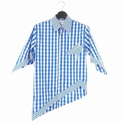 【中古】20SS ザンダーゾウ XANDER ZHOU 非対称カット ボタンダウン シャツ サッカーチェック 半袖 アシンメトリー 48 ホワイト ブルー メンズ